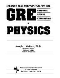 Physics Graduate Record Examination