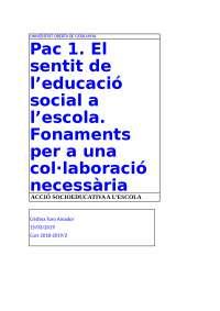 PAC 1 ACCIÓ SOCIOEDUCATIVA A L'ESCOLA