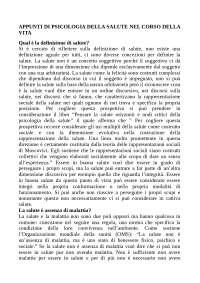 APPUNTI DI PSICOLOGIA DELLA SALUTE NEL CORSO DELLA VITA