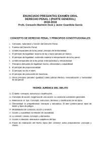 EXAMEN ORAL DERECHO PENAL PENAL, Exámenes de Derecho Penal