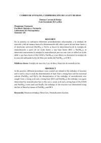 Cambio de Entalpia, comprobación de la ley de Hess