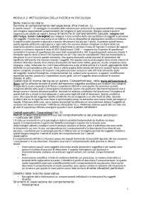 Metodologia della ricerca in psicologia- appunti