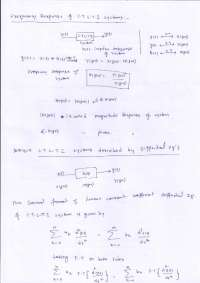 Handwritten notes on frequency response of systems