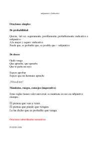 oraciones subordinadas de indicativo y subjuntivo para el exam de español