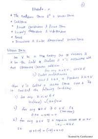 handwritten notes on vector space
