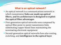 Optical communication Network layer design and architecture
