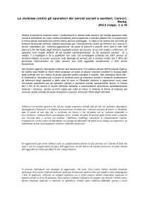 riassutno - La violenza contro gli operatori dei servizi sociali e sanitari, Carocci, Roma, 2013 (capp. 1 e 4)