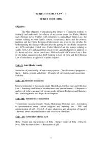 Family law analysis of the subject headings