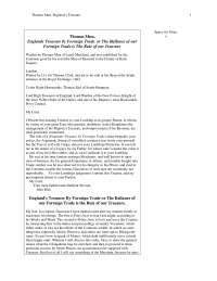Thomas Mun - England's treasure by forraign trade