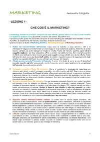 Fondamenti di Marketing (docente D'Egidio)