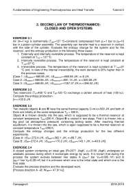 Exrcises of the second law in thermo