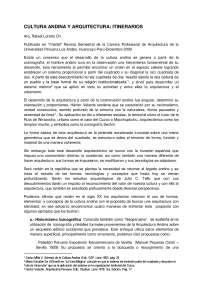 CULTURA ANDINA Y ARQUITECTURA: ITINERARIOS