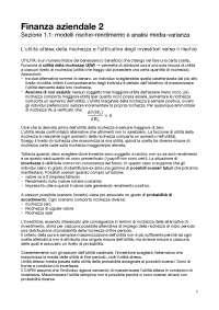 Finanza aziendale 2: asset pricing e finanziamento delle imprese