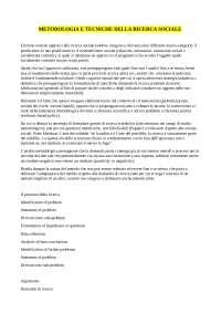 appunti metodologia e tecniche della ricerca sociale