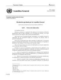 Informe sobre la Convención de Naciones Unidas sobre protección diplomática