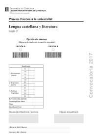Pau Examen Lengua Castellana y Literatura de Cataluña (Extraordinaria de 2017)