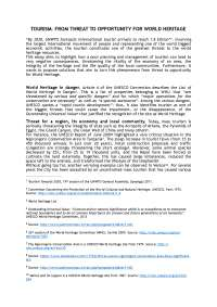 """ACADEMIC ESSAY """"TOURISM: FROM THREAT TO OPPORTUNITY FOR WORLD HERITAGE"""""""
