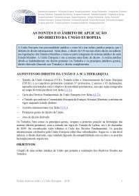 As fontes e o ambito de aplicação do direito da UE