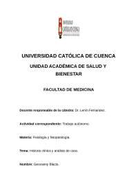Historia clinica/ caso clinico
