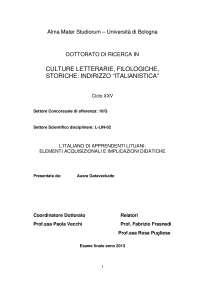 L'ITALIANO DI APPRENDENTI LITUANI: ELEMENTI ACQUISIZIONALI E IMPLICAZIONI DIDATICHE