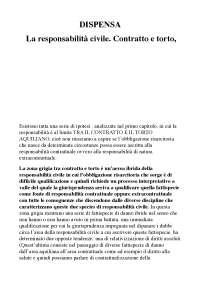 DISPENSA La responsabilità civile. Contratto e torto A. PROCIDA MIRABELLI DI LAURO, M. FEOLA,