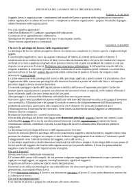 Appunti Psicologia del Lavoro e delle Organizzazioni