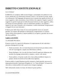 DIRITTO COSTITUZIONALE, Appunti di Diritto Costituzionale