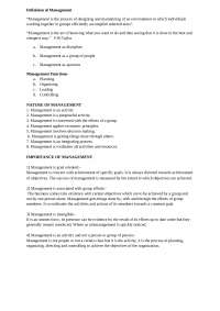 principles of management, Lecture notes for Management Fundamentals