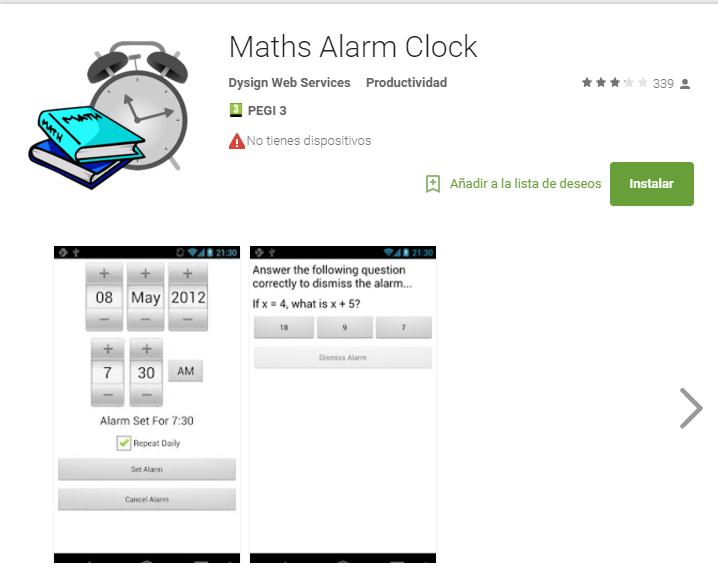 Maths alarm clock - app para aprobar exámenes