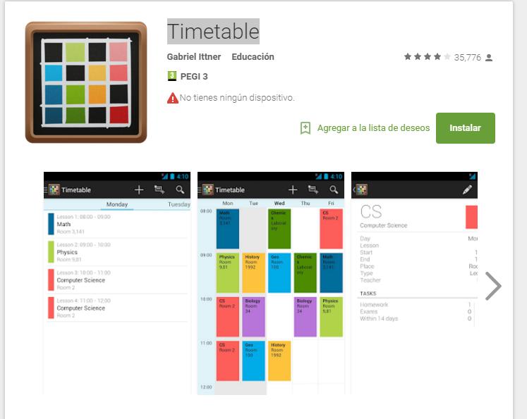 School Timetable Deluxe - app para aprobar exámenes